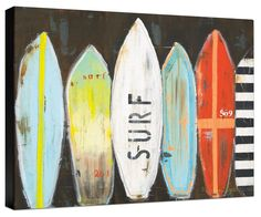 Surfboards Painting Print on Wrapped Canvas