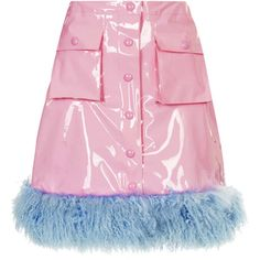 TOPSHOP **Pink PVC Fur Trim Skirt by Meadham Kirchhoff (9.080 RUB) ❤ liked on Polyvore featuring skirts, bottoms, pink, topshop, pvc skirt, knee length a line skirt, a line skirt, topshop skirts and pink knee length skirt