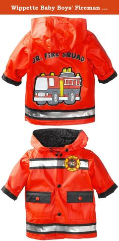 Wippette Baby Boys Fireman Matte Rainwear, Red, 12 Months. Hooded rain jacket with fire truck.