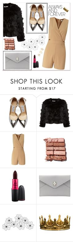 """Girls night out"" by aldinna ❤ liked on Polyvore featuring Jimmy Choo, Alice + Olivia, Miss Selfridge, Bobbi Brown Cosmetics, MAC Cosmetics, Alexander McQueen, Charlotte Russe, women's clothing, women and female"
