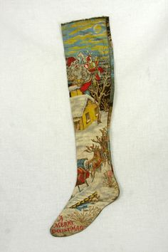 Early American Printed Christmas Stocking c1910