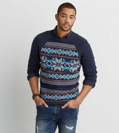 Indigo AEO Pattern Crew Sweater