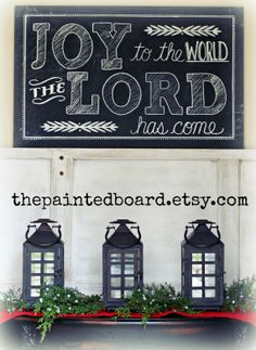 JOY to the world the LORD has come - Christmas chalkboard sign