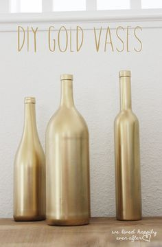 Super easy way to make the vases gold for the center piece