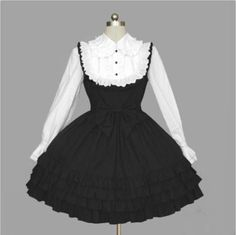 Womens Sweet Black White Gothic Lace Ties Cosplay Lolita Dress Outfit Costume