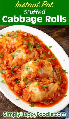 Instant Pot Stuffed Cabbage Rolls are a delicious comfort food. With a great tomato sauce and a delicious meat filling, pressure cooker stuffed cabbage rolls make the best dinner! Pressure Cooker Cabbage, Best Pressure Cooker Recipes, Instant Pot Pressure Cooker, Pressure Cooking, Cabbage Rolls Recipe, Cabbage Recipes, Beef Recipes, Cooking Recipes, Tomatoes