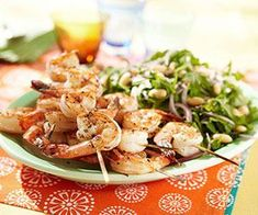 Rosemary Shrimp Skewers with Arugula-White Bean Salad (I added mushrooms and avocados) and 8 other healthy grilling recipes.