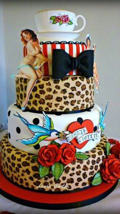 Rockabilly Wedding Cake - Leopard, sparrows, stripes, bow, roses and pin-up lady. Would love this as my birthday cake! Pretty Cakes, Cute Cakes, Beautiful Cakes, Amazing Cakes, Festa Pin Up, Pin Up Party, Rockabilly Wedding, Rockabilly Style, Punk Wedding