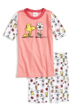 Hanna Andersson 'Peanuts®' Organic Cotton Two-Piece Fitted Pajamas (Toddler Girls, Little Girls & Big Girls) available at #Nordstrom