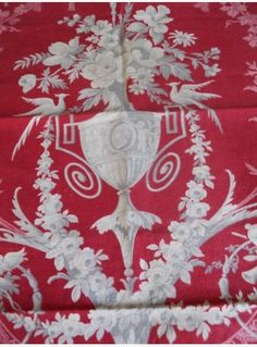 Antique French red  fabric printed 19th-century