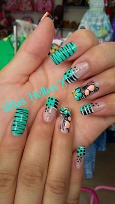 Funky Nails, Love Nails, Polygel Nails, Beautiful Nail Art, Gorgeous Nails, Pretty Nails, Cute Acrylic Nails, Acrylic Nail Designs, Nail Art Designs