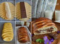 Bounty bread Note: replace bar with chips Nutella, Romanian Food, Grilled Chicken Recipes, Bread And Pastries, Snack, Hot Dog Buns, Sweet Recipes, Sweet Tooth, Fudge