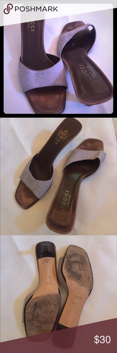 Authentic Gucci logo lavender open toe kitten heel (those black dots are from my phone camera) not on actual shoe -- size 37 1/2 can upload better photos upon request i've been using my camera instead of my phone because my phone camera has these three black dots that show up on pictures 😖 so it's been taking me more time than usual but don't let that stop you from asking me about something you're ISO!!!! ❣😘 Gucci Shoes