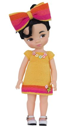Knitting pattern for dress to fit Disney Animators dolls Yellow Crayon. New addition to Crayon collection of knitting patterns for 16 Disney Animators