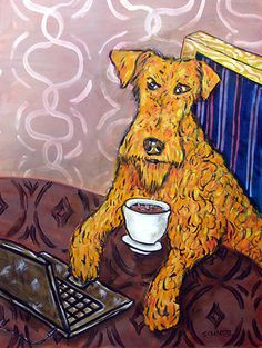 IRISH TERRIER AT THE COFFEE SHOP picture dog art on Canvas Print schmetz