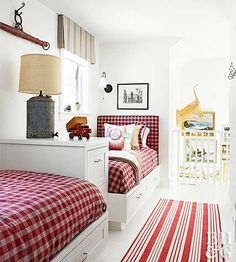 Mini Makeovers to Add Farmhouse Style. Red & White Kids Room with 2 twin Beds.