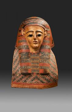 Egyptian mummy mask cartonnage. Late Ptolemaic Period - Early Roman Period.