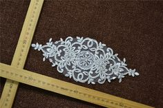 Ivory Beaded Lace Applique with Silver Cord Wedding Dresses Bridal Gowns DIY Lace Motifs Wedding Decoration by LaceWeddingBridal on Etsy https://www.etsy.com/listing/247426726/ivory-beaded-lace-applique-with-silver