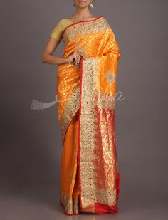 Pallavi Vibrant Orange Contrast Heavy Ornate Kanchipuram Hand-Work Silk Saree