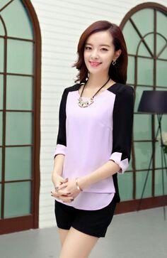 715959c474 Mulheres blusas de Chiffon Blusa Feminina Casual Camisas mulheres artigo  Camisas Femininas O pescoço Casual Patchwork