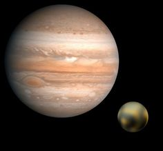 A April Fools Day conjunction of Pluto & Jupiter, the likes of which you'll never see! (Credit: NASA/JPL/USGS(Jupiter) &  NASA?ESA & M. Buie of the SWRI (Pluto)
