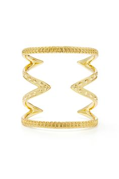 Rent Gold Textured Cut Out Cuff by House of Harlow 1960 for $10 only at Rent the Runway.