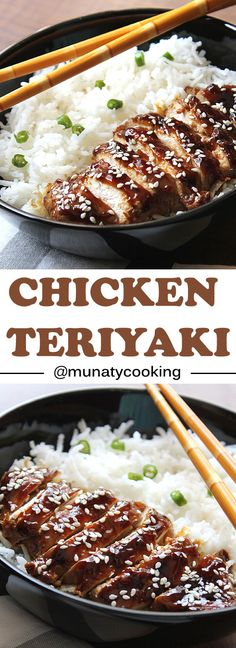 Chicken Teriyaki. Better than takeout and take less than 15 minutes to prepare. This healthy chicken teriyaki is low in calorie and the chicken is tender and juicy, served warm on a bowl of rice. You can increase the amount of the low-calorie teriyaki sauce. www.munatycooking.com | @munatycooking