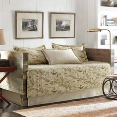 Tommy Bahama Bedding Map 5 Piece Daybed Quilt Set in Tan