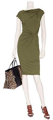 Vestido de oliva frente Nudo de Michael Kors   moda de lujo en línea   STYLEBOP.com