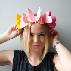 DIY butterfly headband//colorful//paper//papercraft//papergoods