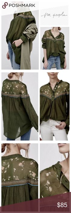 Free People Hearts and Colors Top Retro-inspired blouse in a flowy silhouette. With printed sheer chiffon along the neckline and button closures on the placket. Striped and sheer bottom-half with hip pockets. Color;  Moss She'll 100% Cotton, Trim 100% Rayon Machine Wash Cold Free People Tops