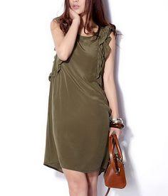 Flouncing Side Silk Dress-zeniche.com SKU aa0063