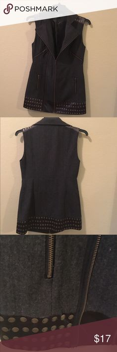 """Dark Grey Long Wool Vest 30"""" Long Wool with silk Polyester lining. Front zipper Forever 21 Jackets & Coats Vests"""