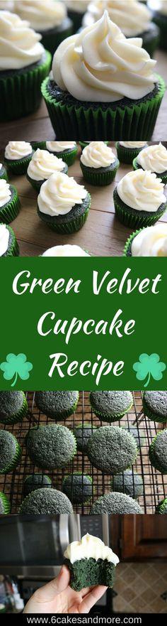 Green Velvet Cupcake Recipe! #recipe #greenvelvet #redvelvet #cupcakes #stpatricksday