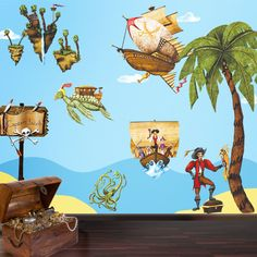 Pirate Wall Stickers - 27 Pirate Theme Wall Decals for Kids Room Pirate Wall Mural, via Etsy.