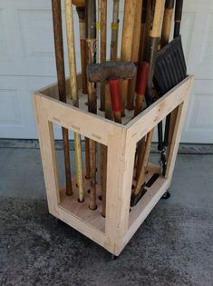 Long Tool Organizer Cart made with CNC-plywood -Brooms, Rakes, Shovels and the like #woodworking #organization #storage