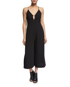 Sleeveless+Wide-Leg+Cropped+Jumpsuit,+Black+by+N+Nicholas+at+Neiman+Marcus.