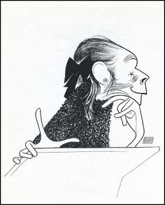 Al Hirschfeld - Ruth Gordon as Minnie Castevet Black And White Drawing, Black And White Portraits, Ruth Gordon, Caricature Drawing, Celebrity Caricatures, Gesture Drawing, Vintage Hollywood, T 4, Line Art