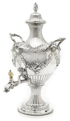 A George II  sterling silver hot water urn by Francis Butty and Nicholas Dumee, London,  1759: