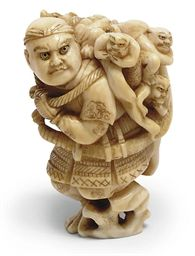 A JAPANESE IVORY NETSUKE 19TH CENTURY Carved as Benkei, carrying a large conch shell, the war trumpet of the Yamabushi on his back, three small oni peaking out from the mouth of the shell, signed Ryugetsu 2¼in. (5.7cm.) high