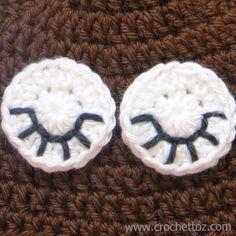 How to make crochet sleeping eyes for animal hats, free pattern, video tutorial, sleepy owl hat eyelashes
