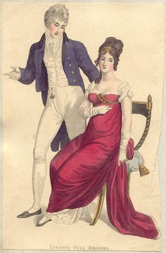 Le Beau Monde, One of the few examples of the tailcoat open. 1800s Fashion, 19th Century Fashion, Victorian Fashion, Vintage Fashion, 18th Century, Jane Austen, Regency Dress, Regency Era, Historical Costume