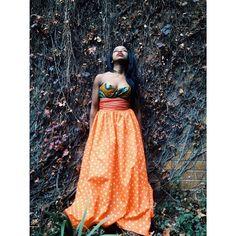 Crawlers orange skirt floral bustierre