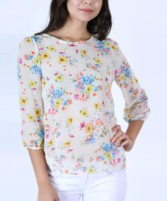 Look what I found on #zulily! Ivory Floral Keyhole Three-Quarter Sleeve Top by Collective Rack #zulilyfinds