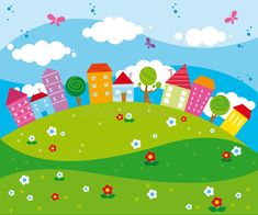 Illustration about Illustration of funny colorful city landscape with houses and trees. Illustration of city, butterfly, tree - 7948429 Art Drawings For Kids, Drawing For Kids, Easy Drawings, Art For Kids, Funny City, Kids Backyard Playground, Kindergarten Design, School Murals, Background Powerpoint