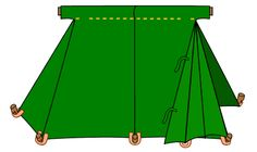 """The second type of tent, usually known as a """"Saxon Geteld"""" is based on manuscript illustrations.One of the principal sources is the Utrecht Psalter [3], a ninth century French manuscript which shows several small tents. Also of note is the Harley Psalter [4], an 11th century English manuscript based on the Utrecht Psalter which shows a somewhat taller version of the same design."""