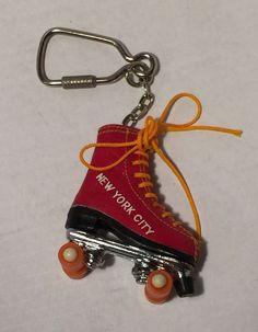 Vtg New York City NY Roller Skate Souvenir Keychain Key Ring FOB Miniature Disco