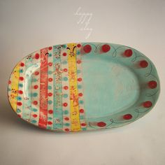 handmade ceramic  11 x 17 Serving Platter in Gigi the Parisian Gypsy Available in 14 days