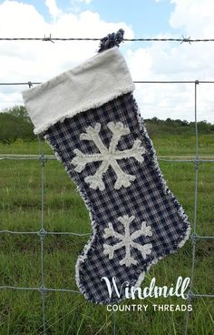 Snowflake Christmas Stocking Farmhouse Country Holiday