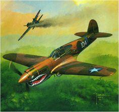 Curtiss P-40E Warhawk, numeral 104 del 76° Escuadrón de Caza, 23er. Grupo de Caza, USAAF, del Mayor Edward F. Rector, comandante del 76° Escuadrón, Kweilin, China, 1942. Jarosław Wróbel. Más en www.elgrancapitan.org/foro/